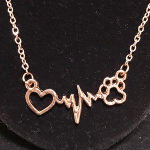 Jewelry - Heartbeat heart ❤️ & 🐾 paw necklace NEW
